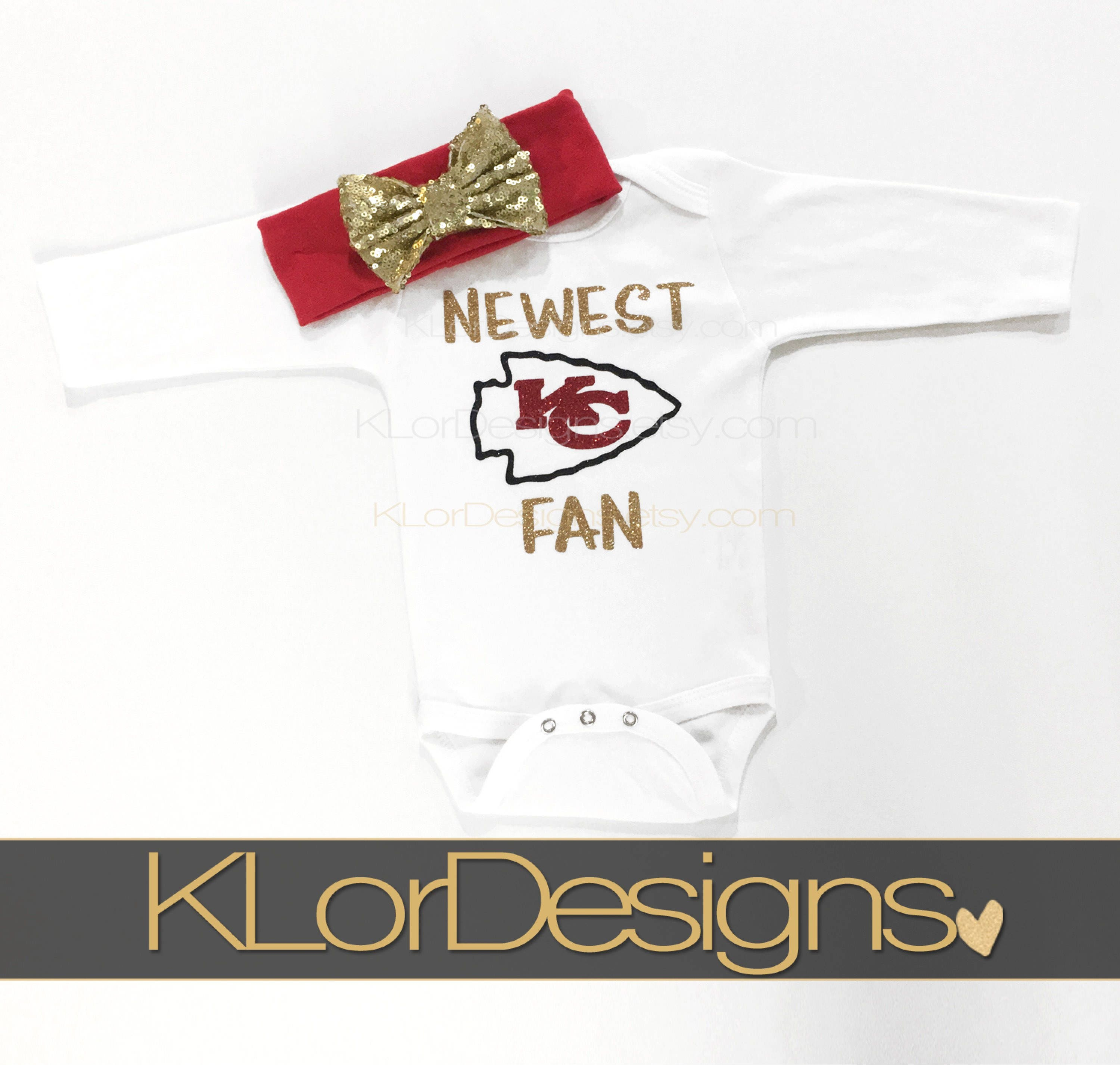 KC baby outfit newest Chiefs fan Kansas City bodysuit