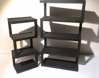 Modern furniture, assymetric bookcases in black MDF wood, 1/12 miniature for dollhouses
