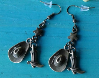 Country Western Boot and Cowboy Hat Earrings Boots and Spurs
