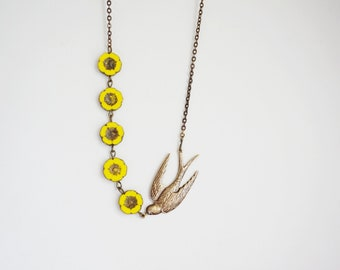 Yellow Necklace Statement Necklace Flower Necklace Beaded Necklace Bridesmaid Jewelry Bridesmaid Gift Bib Necklace Bird Necklace Gift