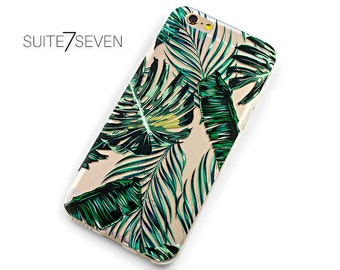 Rubber iPhone Case, Clear Samsung Galaxy Case, iPhone 6 Case, iPhone 6s Case, iPhone 7 Case, iPhone 7 Plus, Galaxy S7 Case, Tropical Foliage