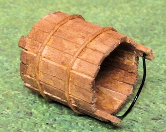 Medieval wooden pail or bucket, tiny legs, wire handle, aged wood, staves bound with cord. 1 to 12 scale miniature. Handmade USA.