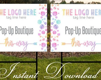 Pop up Boutique Yard Sign | Consultant Sign | Yard Sign | Instant Download | 24x18 **DIGITAL FILE ONLY**