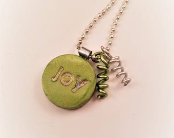 """MINI Lime polymer clay pendant with 24"""" ball chain, small pendant, mica shift pendant,women's gift, girlfriends, BFF, lime green,mini design"""