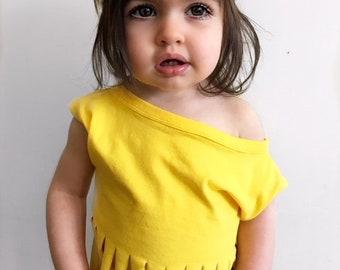 Toddler Crop Top, SUNSHINE YELLOW Dolman Fringe Crop Top, Baby Toddler