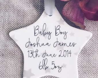 Personalised New Baby Ceramic Star with Star Detail - Newborn - Baptism Gift - Christening Gift  - Godson Gift -Keepsake