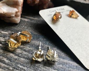 Stud Earrings,Gemstone Studs,Citrine Studs,Sterling Silver Studs,Birthstone Studs,Crystal Studs,Gemstone,Citrine Earrings,Raw Stone Studs