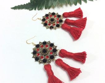 Red Tassel Earrings/ Swarovski  Earrings/ Statement Earrings/ Tassel Earrings/ Red And Black Earrings/ Dangle Earrings
