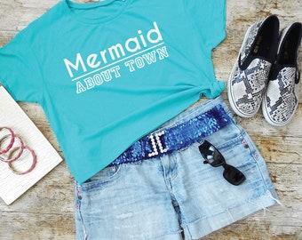 Mermaid About Town Shirt. Mermaid Brunch T-Shirt. Cropped Tee. Off Duty Mermaid Fashion. Mermaid Clothes.
