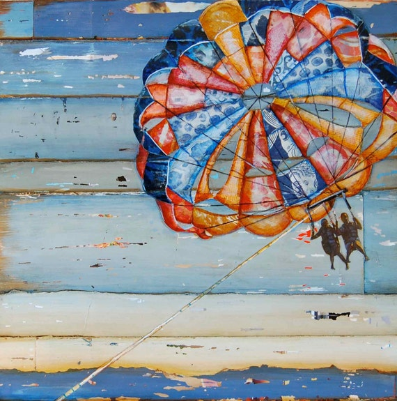 COUPLE ART PRINT Parasailing beach art coastal decor wall poster wedding engagement valentine's day gift painting mixed media, All Sizes