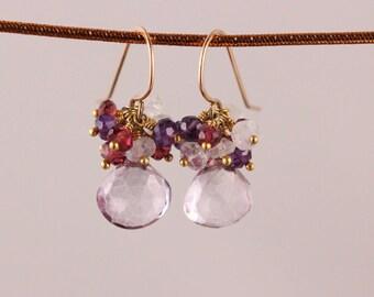 Pink Quartz with Rainbow Moonstone Garnet and Amethyst Earrings 14k Gold Filled Gemstone Cluster February June January Birthstone
