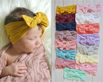 Nylon Bow Headwrap, One size fits all nylon headbands, wide nylon headbands, baby headbands, baby shower, CLASSIC Knot Nylon Headwrap