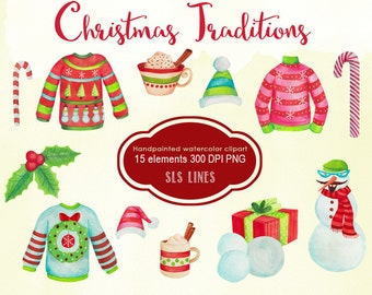 Christmas watercolor clipart, christmas sweaters watercolor graphics, hot chocolate candy cane clip art for invites, handpainted clipart