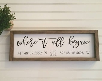 Coordinates Wood Sign, Latitude Longitude sign, Where It All Began Sign, Custom Wooden Signs, GPS Sign, Personalized Signs, 5th Anniversary