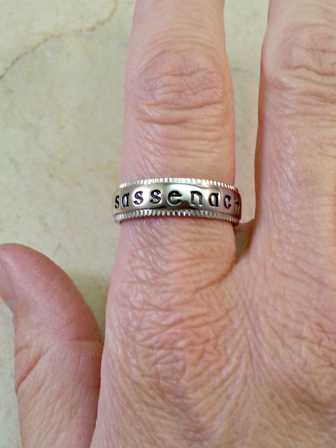 Sassenach Ring Celtic Ring Hand Stamped Stainless Steel with