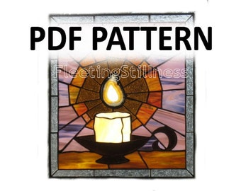 PDF Pattern for Stained Glass - Candle and Flame FleetingStillness Original Design
