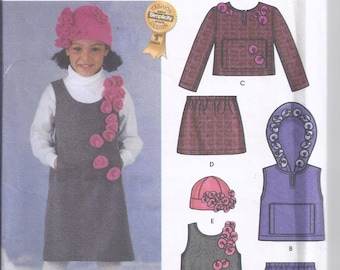 Simplicity 5806 Sewing Pattern from 2002.  Children's pullover Jumper, Vest, Top, Skirt and Hat.  Breast 22-27