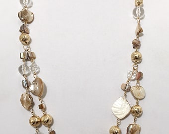 Beige and Gold Sea Shell Beaded Two Strands Long Necklace  / Gold Chain Beaded Long Necklace.
