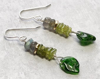 Green and Gray Earrings- Peridot, Chrome Diopside, Labradorite- Sterling Silver- Sundance Style- Spring Earrings- Gold and Silver