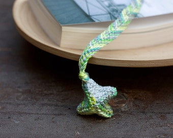 Geometric textile bookmark, hand knitted and braided, multicolor - green gray yellow, OOAK