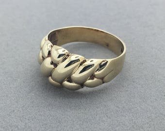 Vintage 14k Yellow Gold Basket Weave Ring, Fancy Gold Band Ring , Retro