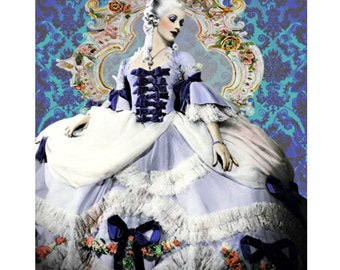 Marie Antoinette, vintage movie star, digital print, photomontage, baroque, fine art print, digital art, Cinderella, home decor, modern art