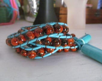 Turquoise and Copper Stone Wrap bracelet, with vintage beaded clasp, price reduced for the holidays!