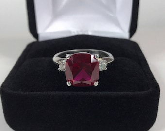 BEAUTIFUL 5ct Cushion Cut Ruby & White Sapphire Sterling Silver Ring 6 7 8 9 10 11 Ruby Ring Trending Jewelry Gift Wife Mom Fiance July