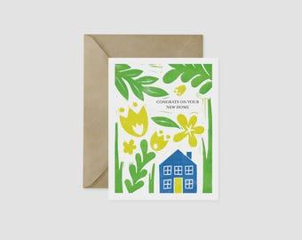 New Home Congratulations Block Print A2 Card Flowers Garden Foliage Linocut Polish Folk Art Floral House New Neighborhood Welcome