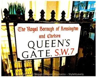 Kensington sign print 8x 10 London fine art print, London photography, Queen's Gate, London street sign, London gate