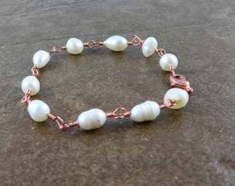 Freshwater Pearls wrapped in copper. Wire Wrapped Pearl Bracelet.  Jemstonez