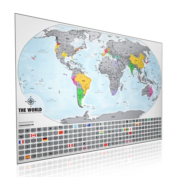 Scratch off map xl travel tracker world map 24x scratch off map xl travel tracker world map 24x 36 platinum edition made in the usa perfect gift idea for travel lovers gumiabroncs Choice Image