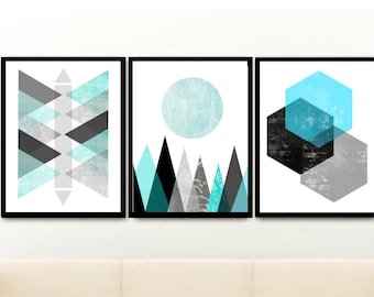 Geometric Prints, Triptych, Scandinavian Design, Printable Art, Abstract Art, blue Wall Art, Set of 3 Prints, digital download