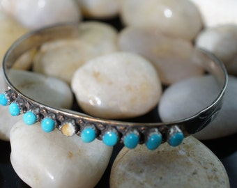 Vintage  Sterling silver Sterling silver Zuni Petti Point Gem Turquiose Native American Navajo P.D. Coonsis Cuff/Bracelet Q19
