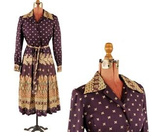 Vintage 1970's Dark Purple Dutch Java Ethnic Boho Long Sleeve Hippie Day Dress M