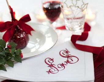Christmas Napkins - Cherry Punch Monogram - Linen Napkins, Monogram Table Linen, Personalised Monogram Napkins, Monogram Cloth Napkins