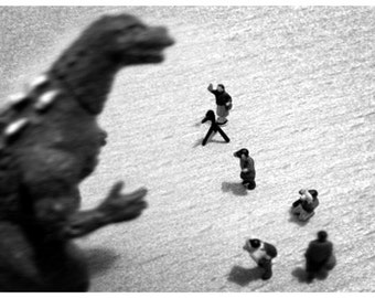 Godzilla - 6x4 Black and White Miniature Photography