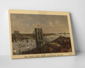 Vintage Apple 'The Great East River Suspension Bridge' Gallery Wrapped Canvas Print