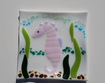 Seahorse Fused Glass Plate - Beach Cottage Decor