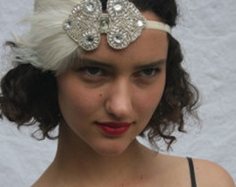 Silver Great Gatsby headband, 1920s Ivory Feather Headband, black feather fascinator, wedding Flapper Art Deco Stretch Elastic Velvet