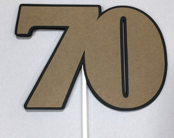 70th Birthday Topper - Sucker Bouquet, Black and Kraft Brown READY to SHIP