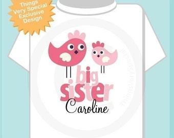 Girl's Big Sister Shirt, Big Sister Little Sister Siblings, Personalized t-shirt or Onesie with Cute Pink Birdies