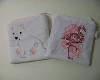 Tropical or Arctic Embroidered Coin Purse // Polar Bear // Flamingo // White Pink