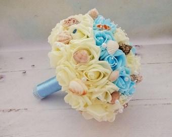Beach Wedding Bouquet, Nautical Bridal Bouquet, Bridesmaid Bouwqet, Blue Bridal Bouquet, Seashell Bouquet, Costal Wedding Bouquet