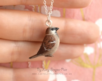 Tiny Hand-Sculpted Sparrow Pendant with Chain