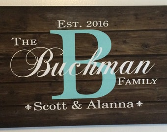 Family Name Sign Monogram Rustic Wood Sign Canvas Wall Art - Wedding, Anniversary Gift, Housewarming, Valentine's Day