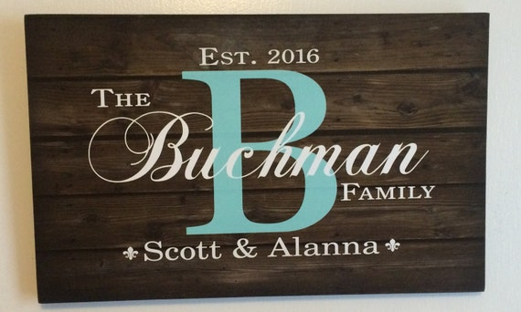 Wedding custom family name sign monogram rustic wood sign
