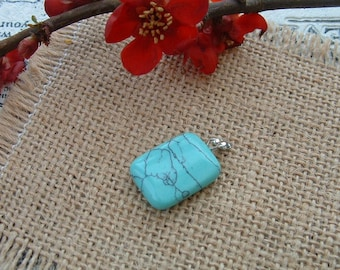 RECTANGLE 15X20mm synthetic TURQUOISE pendant