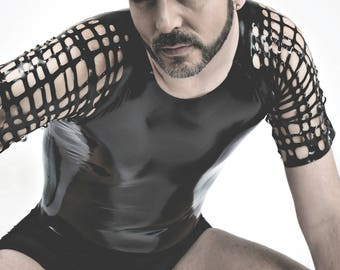 Raglan Sleeve Mesh and Sheet Latex T-Shirt in Black or ANY Colour