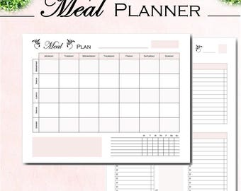 Weekly meal planner, grocery list, kitchen organizer, menu planning, shopping list, food tracker, printables letter size and A4 PDF